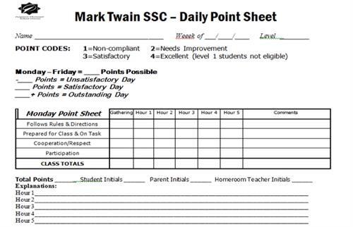 Daily Point Sheet Example