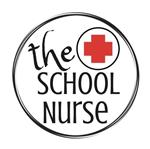 "words ""the school nurse"" with a red cross"