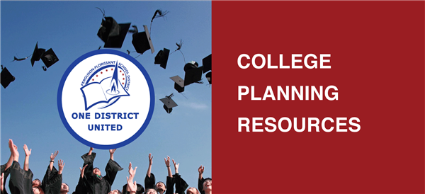 "A banner image with students celebrating graduation and text that reads ""College Planning Resources"""