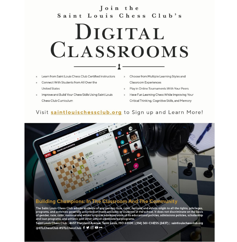 Join the Saint Louis Chess Club's Digital Classrooms