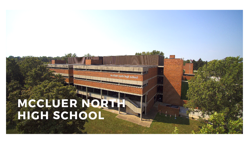 A drone image of McCluer North High School